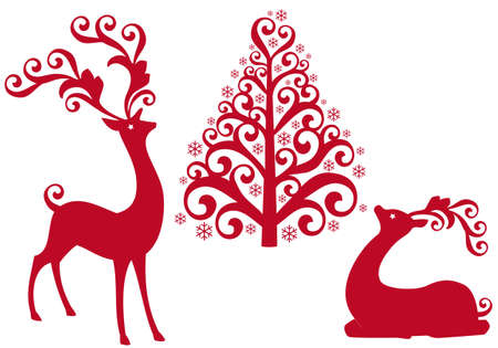 reindeers: red reindeer with ornamental christmas tree
