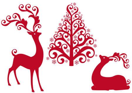 renos navide�os: Reno rojo con �rboles ornamentales de Navidad  Vectores