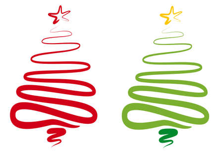 abstract scribble: red and green abstract christmas tree