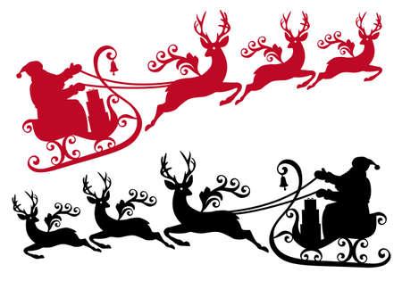 reindeer silhouette: santa with his sleigh and reindeer