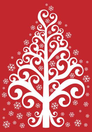 decorative christmas tree with snowflakes on red background Vector