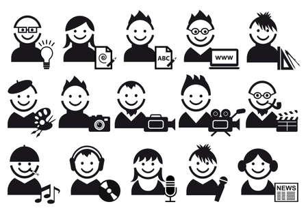 creatieve mensen en kunstenaar pictogrammen  Vector Illustratie