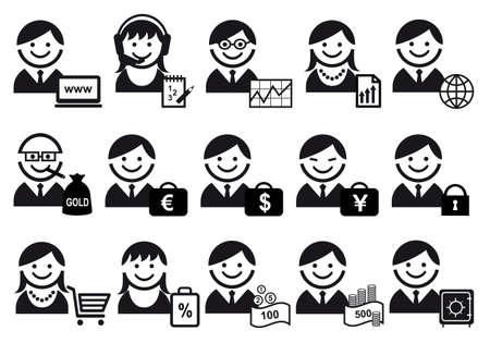 bank manager: conjunto de iconos de personas de negocios