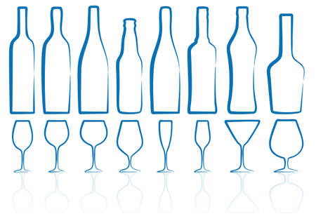 bottle of wine: bottle and glass silhouettes, sketch