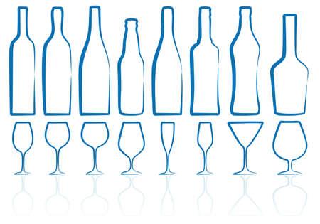 botella de licor: siluetas de botella y vaso, esbozo