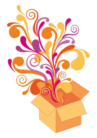 milagros: caja de regalo con explosivo sorpresa, fondo Vectores