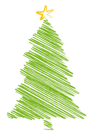 christmas tree scribble drawing, background Vector