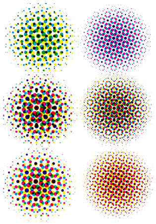 backgrounds grungy dots: set of cmyk halftone dots, vector pattern