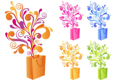 shopping bag vector: magic shopping bag with floral ornament, vector background
