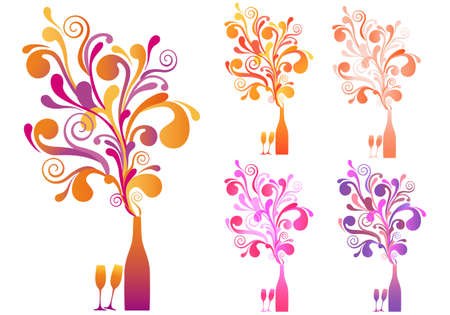 champagne bottle with explosive ornament, vector background Vector