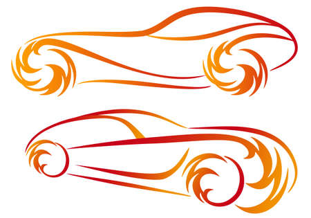 fire car: sport car silhouettes with fire flames, vector sketch