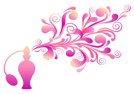 vaporizer: pink perfume bottle with floral ornaments, vector background Illustration