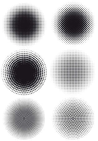 round dot: set of grungy halftone patterns, vector