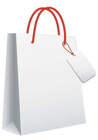 shoppen: wei�e leere Einkaufstasche, Vektor Vorlage