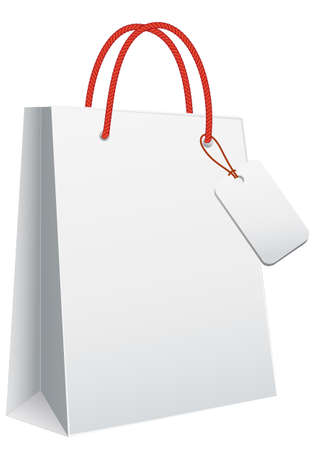 red retail: white blank shopping bag, vector template