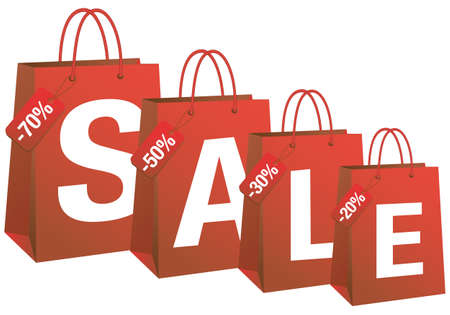 sale with red shopping bags, vector background Vector