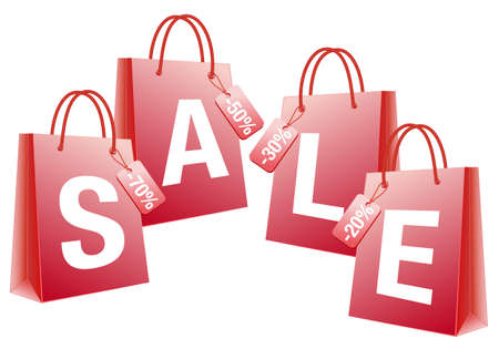 sale with red shopping bags  Vector