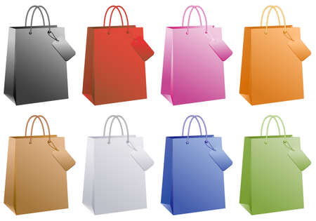 shopping bags, basic colors set  Vector