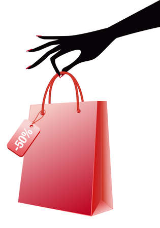 red retail: female hand holding shopping bag