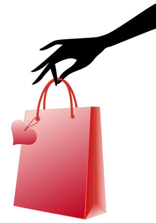 gift bag: female hand holding red shopping bag, vector Illustration