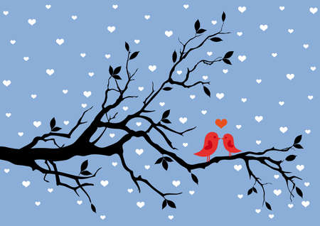 birds in love, kissing on a tree Stock Vector - 8618535