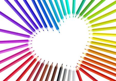 heart tone: heart frame with color pencils,  illustration Illustration