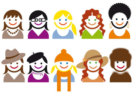 woman faces and hair style,  icon set Vector