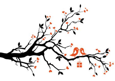 �rboles con pajaros: aves de amor con caja de regalo, sentado sobre una rama de �rbol, vector de fondo