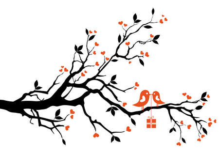 love tree: love bird with gift box, sitting on a tree branch, vector background