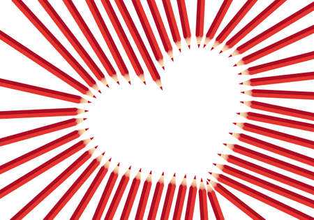 heart frame with red color pencils, vector background Vector