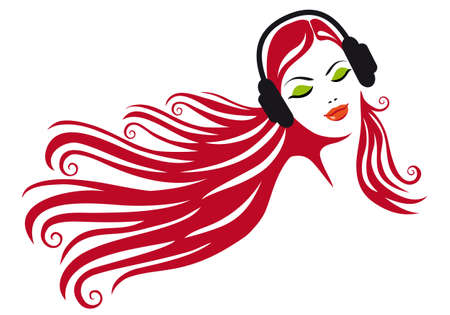 headphones woman: woman with beautiful hair and headphones, vector illustration Illustration