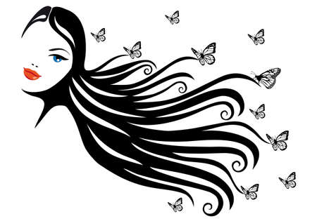 hairdos: donna con i capelli neri e farfalle, vector illustration