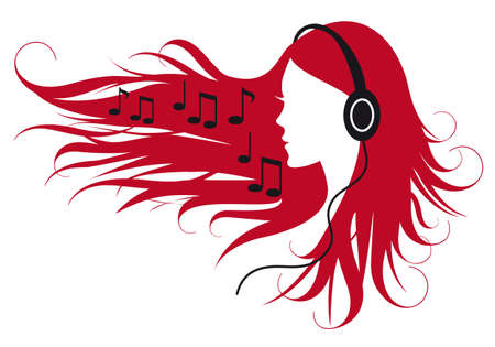 music notes vector: woman with headphones and music notes, vector illustration