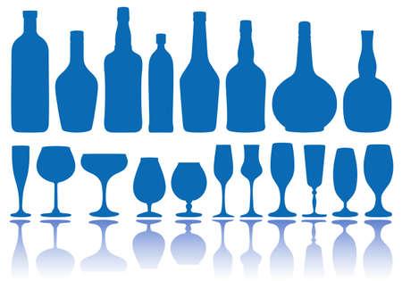 botella de whisky: conjunto de botellas de alcohol y gafas, vector