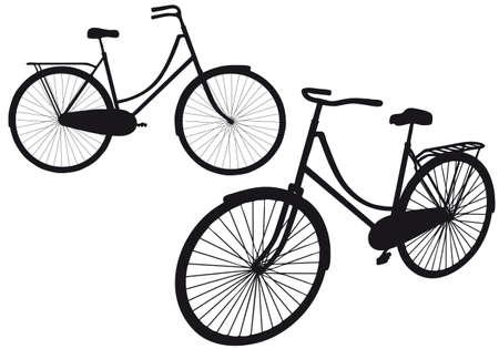 Vintage bicycle silhouettes, illustration vectorielle