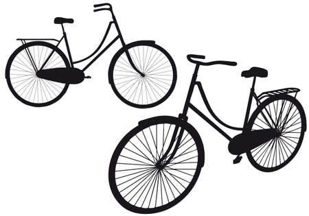 bycicle: vintage bicycle silhouettes, vector illustration