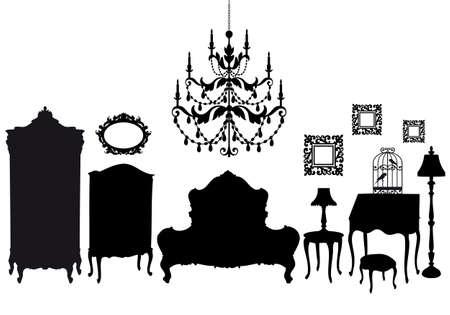 гардероб: bedroom with french antique furniture, vector background Иллюстрация