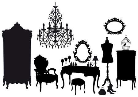kleedkamer: dressing kamer met antieke meubelen, vector achtergrond