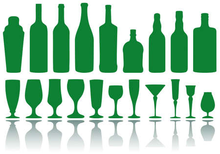 set of alcohol bottles and glasses, vector Vector