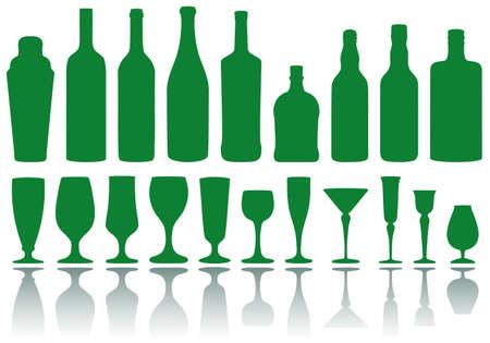 whisky bottle: set of alcohol bottles and glasses, vector Illustration