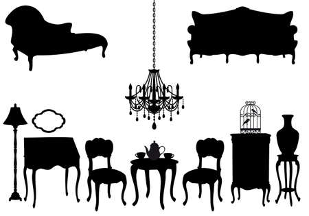 chandeliers: living room with antique furniture, vector background