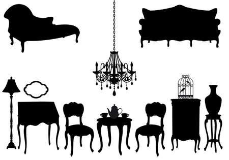 furnishing: woonkamer met antiek meubilair, vector achtergrond
