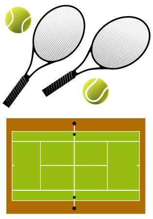 tennis rackets, balls and court, vector illustration Vector