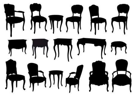 furnishing: stoelen en tafels, antiek meubilair, vectorillustratie