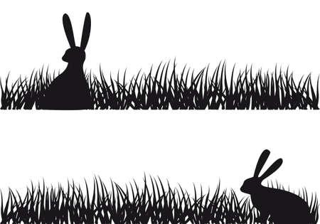 conejo de Pascua sentado en el césped, ilustración vectorial