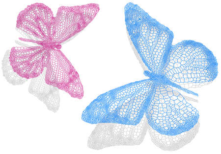 pink texture: beautiful butterflies with shadow, vector illustration
