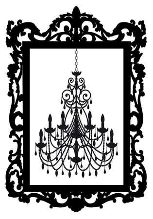 antieke picture frame met kroonluchter, vector Vector Illustratie