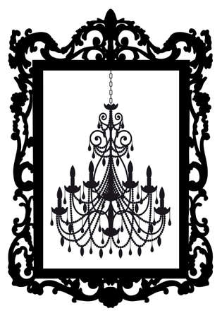 boudoir: antique picture frame with chandelier, vector