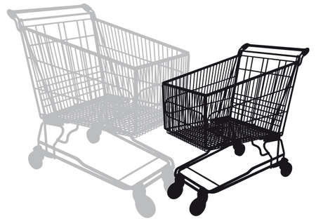 retail equipment: shopping cart silhouette, vector illustration