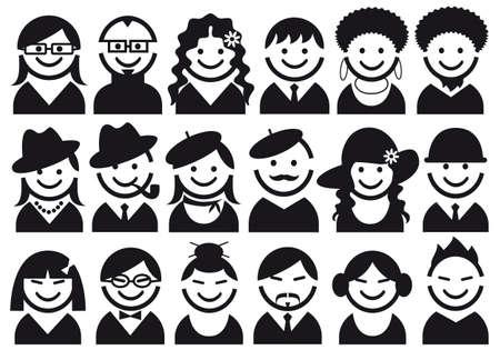 avatars: volti di donna e uomo, vector icon set